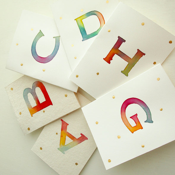 Handpainted watercolour letter card