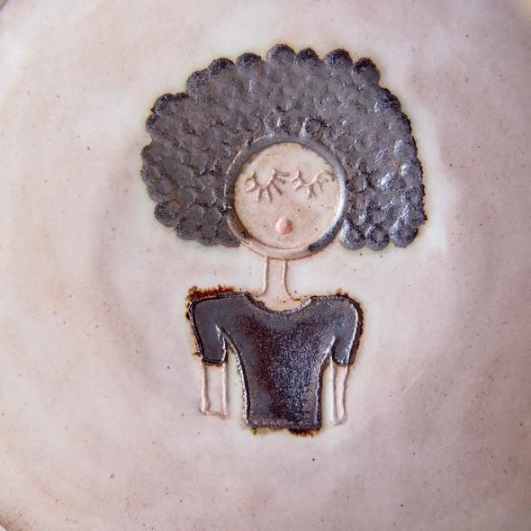 Afro hair girl mini pottery face plate.