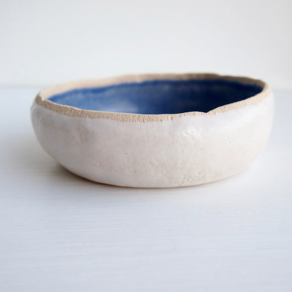 side view blue satin  soap dish