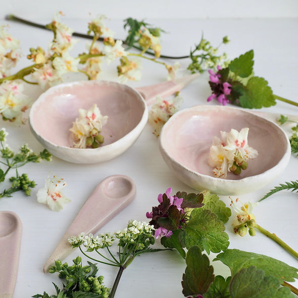 Handmade mini pink blush gloss condiment bowls