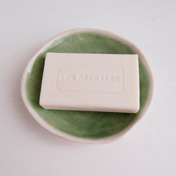 mini pottery celadon green soap dish with soap