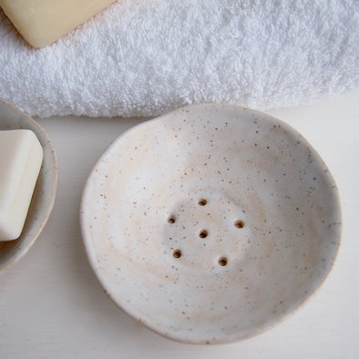 cream speckled mini pottery soap dish