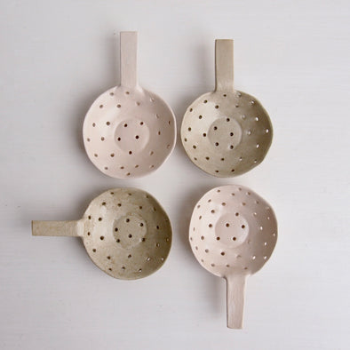 Handmade satin white/oatmeal mini sieve scoops