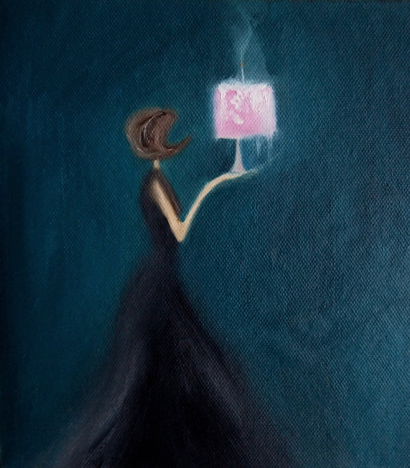 Lady holding a pink cake painting