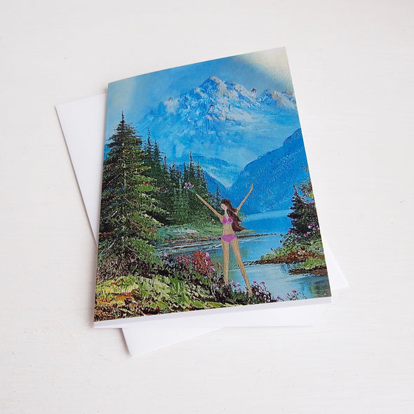 girl in the mountains greetings card with envelope.