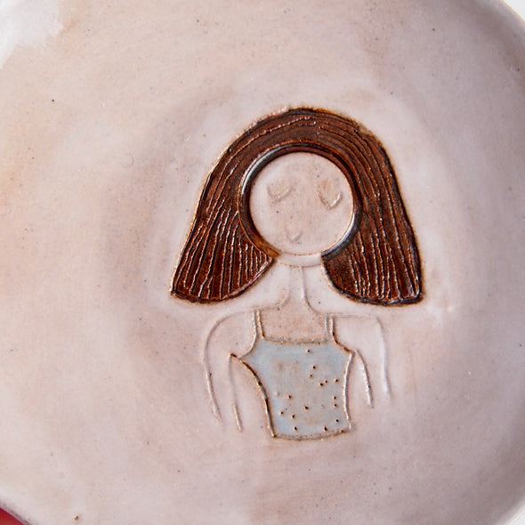 Brown bob  hair girl mini pottery face plate.