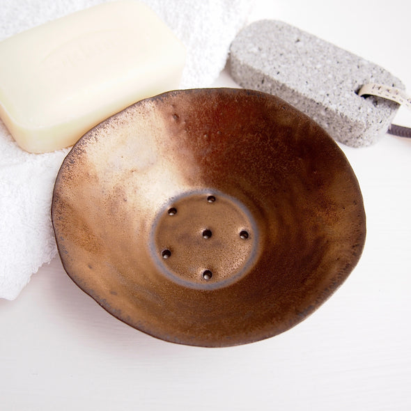 Large gold ceramic soap dish