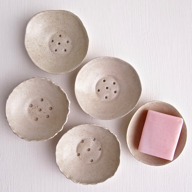 5 Handmade mini round oatmeal pottery soap dish