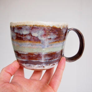 handmade brown, blue, turquoise and gold mug