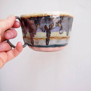 handmade metallic black and green stripy mug