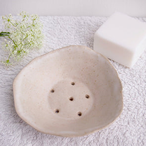 Handmade oatmeal white pottery soap dish