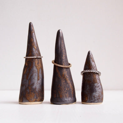 Gold black handmade ceramic ring cones