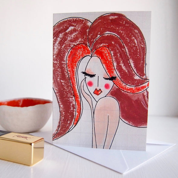 red hair girl birthday card