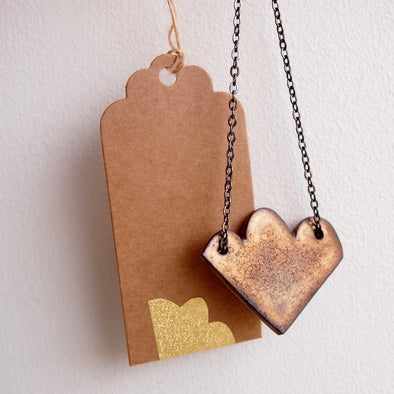 Gold cloud ceramic necklace