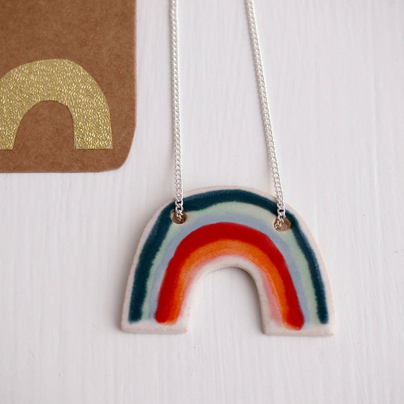 Ceramic rainbow necklace