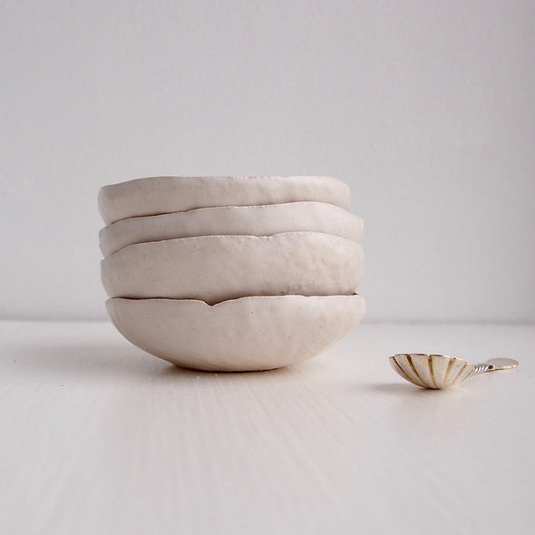 Handmade mini white ceramic salt and pepper dish
