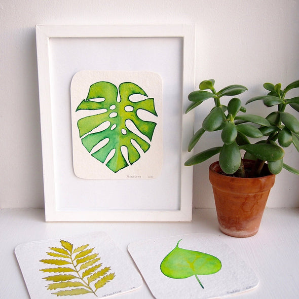 Original watercolour plant leaf paintings