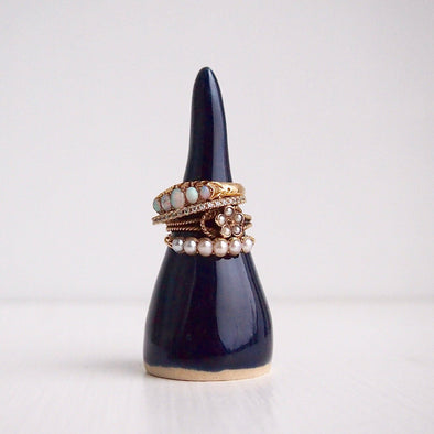 Handmade navy blue ceramic ring cones