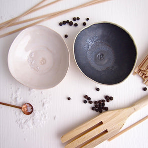Ceramic handmade pair of black and white salt + pepper dish