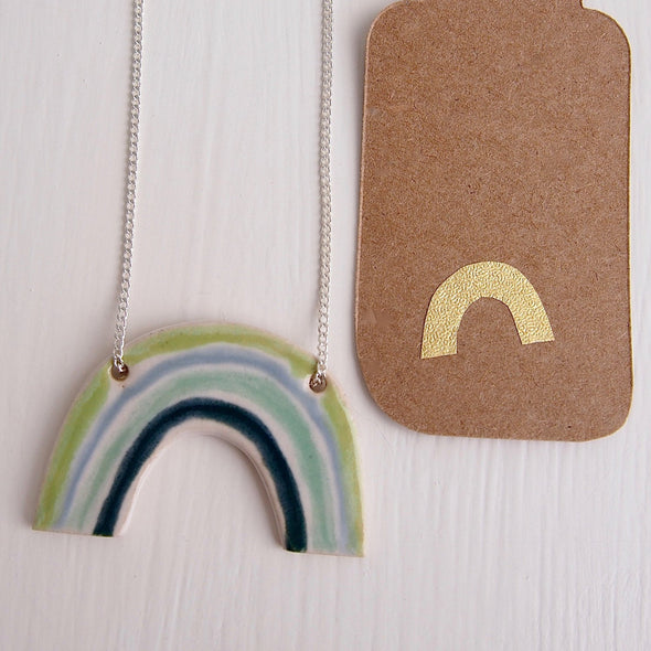 Rainbow necklace in  turquoise blue and green