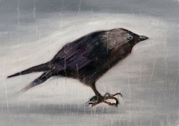 Black bird print with grey background