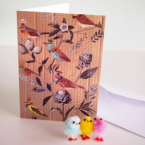 birds and flowers card with easter chicks