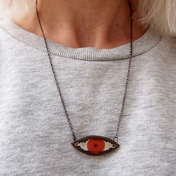 Handmade ceramic orange eye pendant necklace