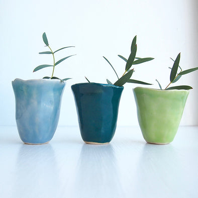 3 blue and green mini vases