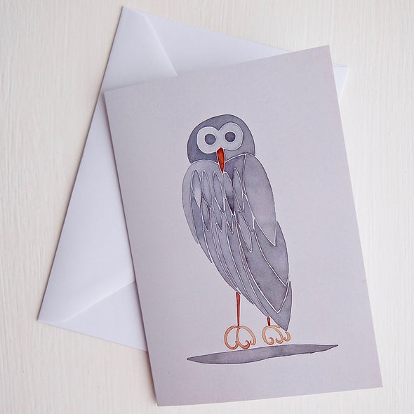 grey owl birthday card and envelope