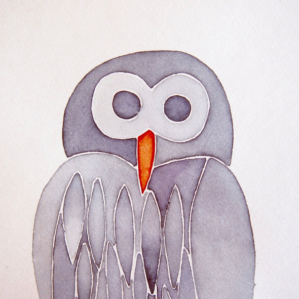 grey owl birthday card detail