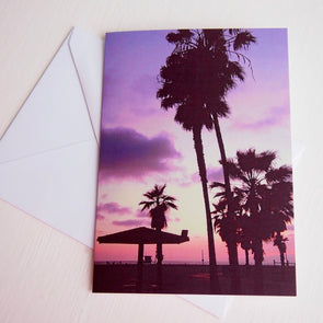 California sunset beach birthday card