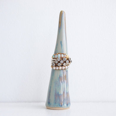 One blue brown ceramic ring cone with rings