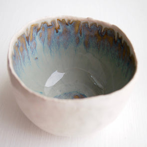 Handmade ceramic blue brown ring bowl