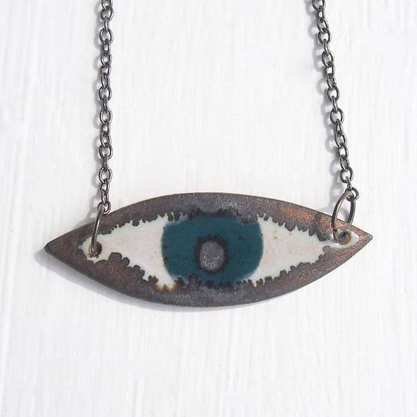 Handmade teal ceramic eye necklace