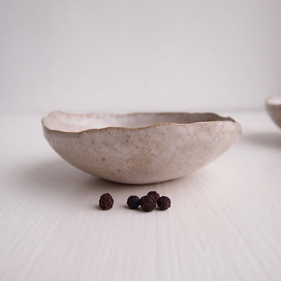 Handmade mini pottery oatmeal gloss white condiment bowls