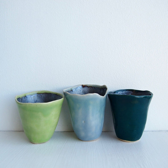 3 blue and green mini ceramic vases