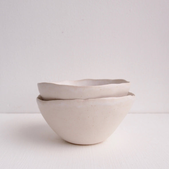 Handmade simple white pottery cereal bowl