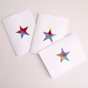 Handmade watercolour Star birthday card