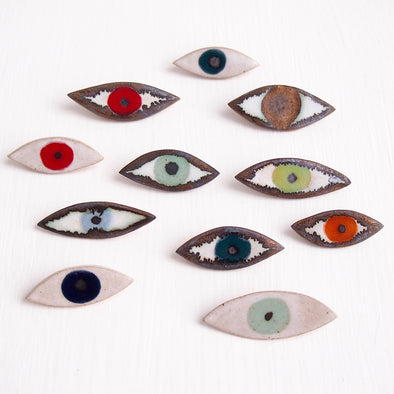 Ceramic eye pin brooch