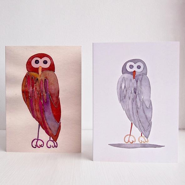 Brown owl and grey owl greetings cards