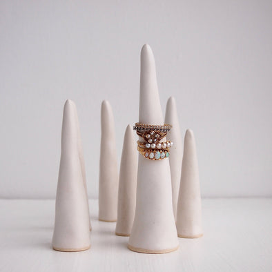 Satin white pottery ring cones