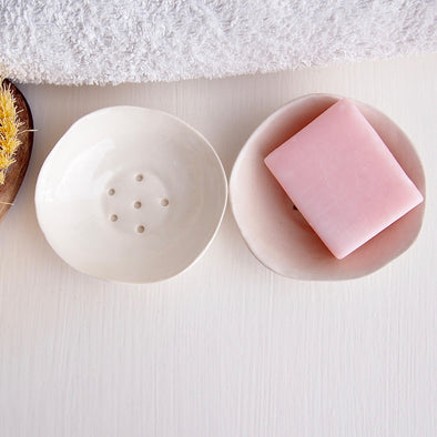 Handmade mini white ceramic soap dish