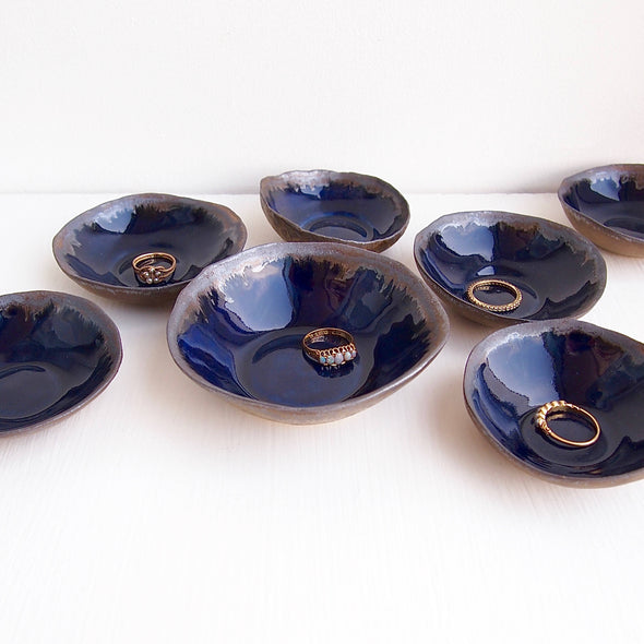 Handmade gold and navy blue ceramic ring dish,
