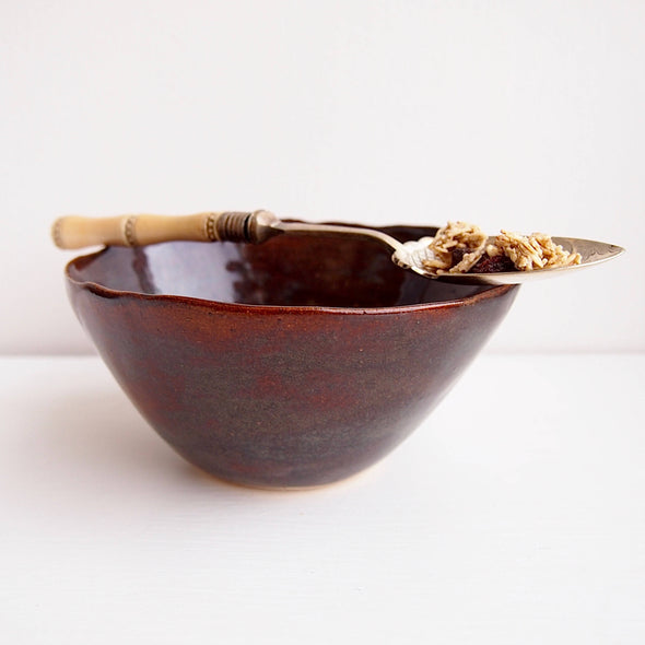 Handmade pottery dark brown cereal bowl