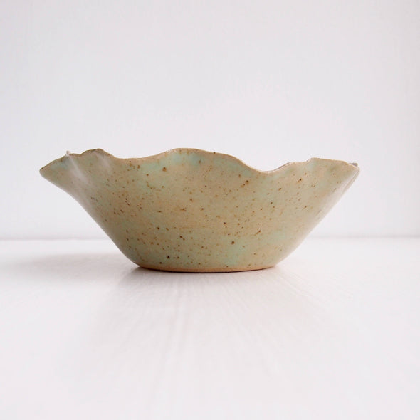 Handmade duck egg green pottery bowls