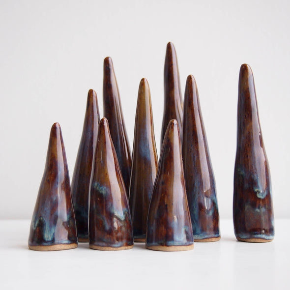 group blue/brown ceramic ring cones
