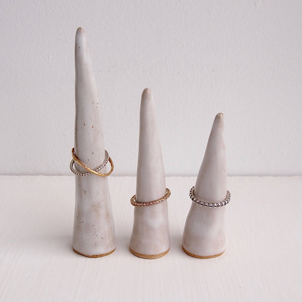 Handmade oatmeal gloss ceramic ring cone