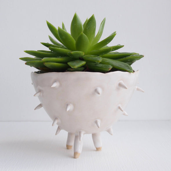 Handmade white ceramic spiky cactus planter