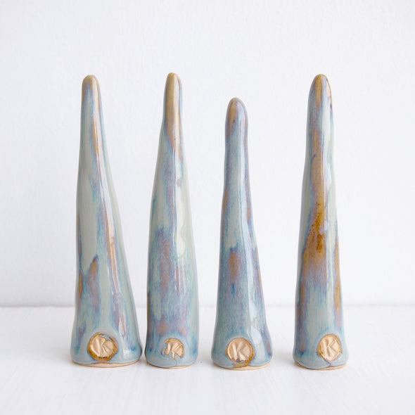 Back of blue /brown ceramic ring cones