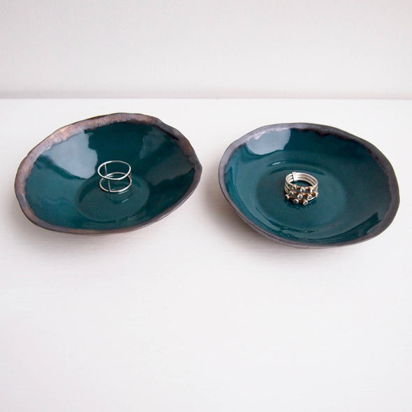 Handmade teal green and gold ceramic ring dish